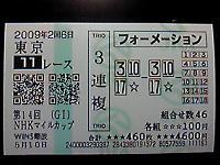 2009年NHKマイルカップ 三連複31万8540円 的中!!