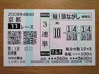 2008年秋華賞 3連単192万0100円 1着2着4着馬券 orz
